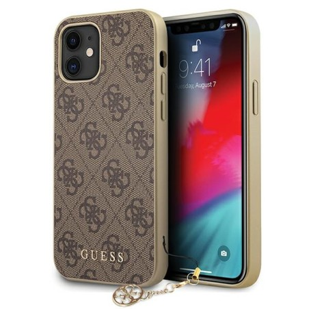 Etui Guess GUHCP12SGF4GBR do iPhone 12 mini 5,4' brązowy/brown hardcase 4G Charms Collection - 1