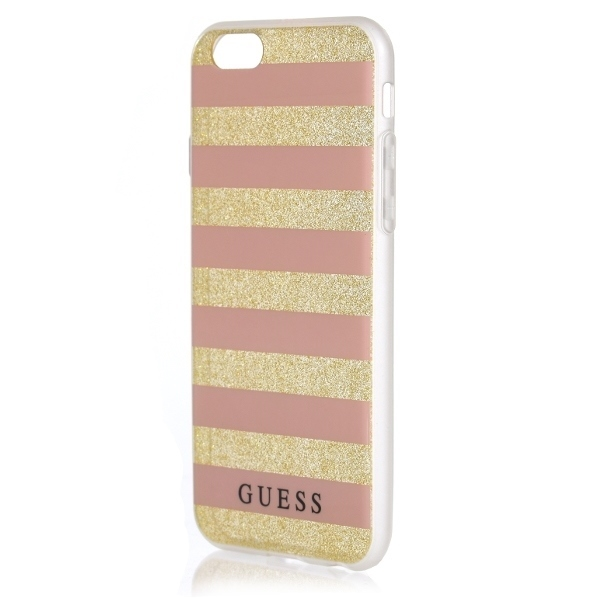 Guess GUHCP7STGPI iPhone 7 gold/pink hardcase Ethnic Chic Stripes 3D - 1