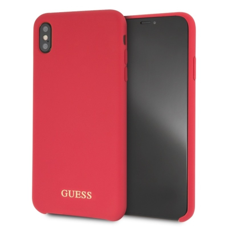 Etui Guess GUHCI65LSGLRE do iPhone Xs Max red /czerwony hard case Silicone - 1