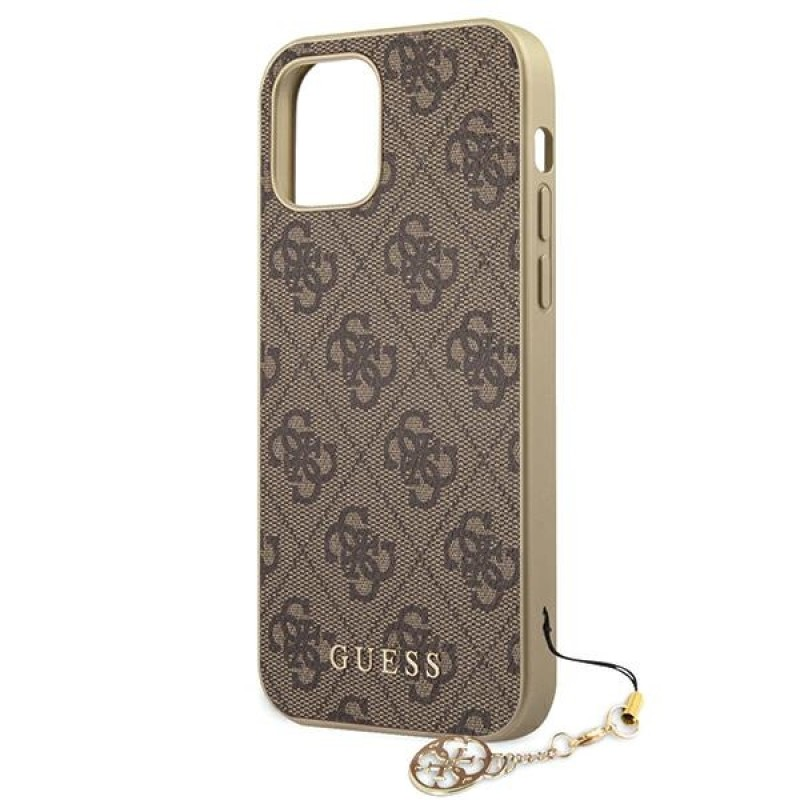 Etui Guess GUHCP12SGF4GBR do iPhone 12 mini 5,4' brązowy/brown hardcase 4G Charms Collection - 6